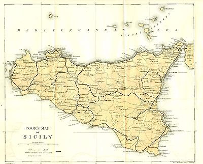 Cook's Map of Sicily  Italy   1922