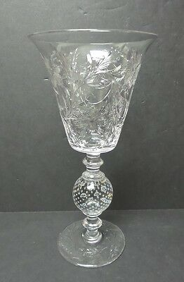 "PAIRPOINT ENGRAVED CRYSTAL 11.75"" CHALICE VASE, CONTROLLED BUBBLE BASE, c. 1930"