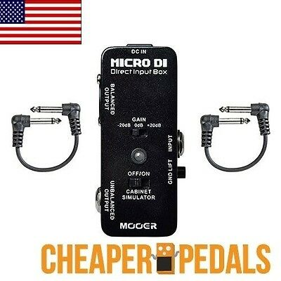 NEW MOOER DI Direct Input Box Pedal + 2 *Free* Patch Cables US Seller