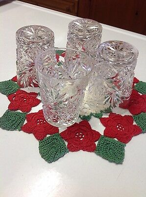 Four Antique Cut Glass Glasses