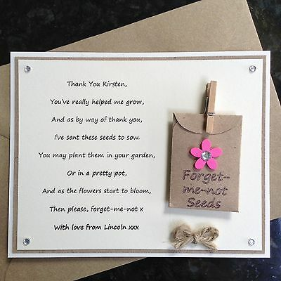 Personalised Thank You Teacher Poem Gift Magnet. Forget-me-not Seeds School