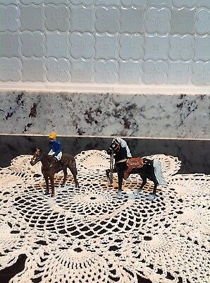 Two Vintage Japan Metal Horses -  One  With Jockey And One Prancing