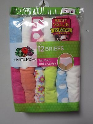 Fruit of the Loom Youth Girls' 12-Pack Multi-Color Briefs Underwear Size 6