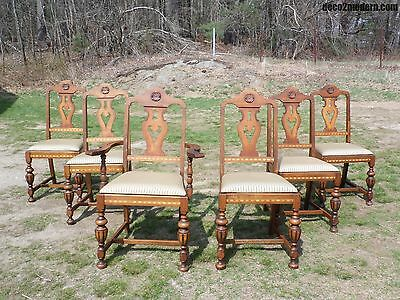 Set 6 Antique Art Deco Dining Chairs Walnut & Satinwood Inlay 1920-30's