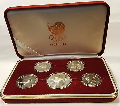 Seoul Korea Olympics 1988 Commemorative 5 Coin Proof Set 2 .925 silver coins