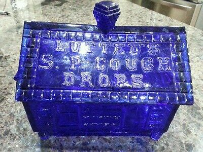 Rare Blue  Vintage Lutted's S.P. Cough Drop Glass Log Cabin Jar Store Display