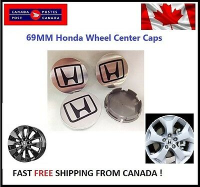 4 PCS HONDA ALUMINUM LOGO WHEEL CAP HUB CENTER 69MM FACE Chrome Finish