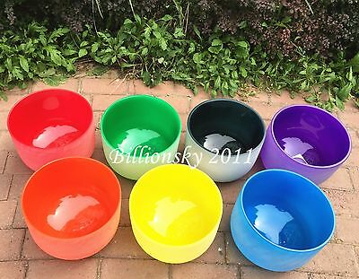 """432HZ  Chakra Tuned Set of 7 Frosted Colored Crystal Singing Bowls All 8"""""""
