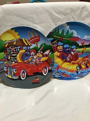 Ronald Mcdonald Plastic Children's Plates 1998 Car And Raft Boat