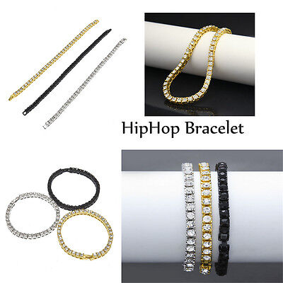 14k Gold Filled 1 ROW Lab Diamond Iced Out Chain Unisex HipHop Bracelet KP