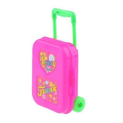 Pink Plastic Rolling Suitcase Luggage Box for Barbie Doll Travel Accessory