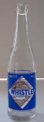 rare Whistle soda bottle w/ image of woman whistling and unused Whistle cap