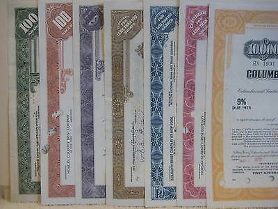 Lot Of Seven Cancelled Stock Certificates