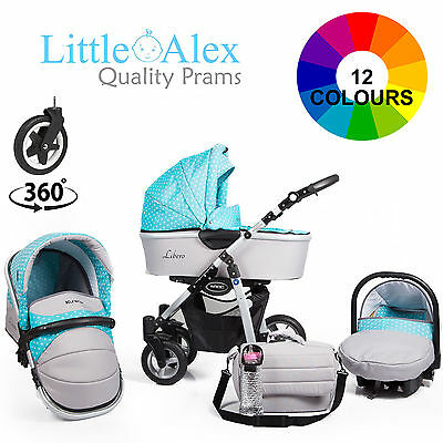 Baby Pram 3in1 Stroller Pushchair CAR SEAT Carrycot Travel System Buggy 12 CLRS