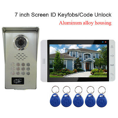 "7"" Video Door Phone doorbell Intercom Aluminum Alloy Code Camera RFID Keyfobs"
