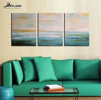 """Abstract Oil Painting  Canvas  Art Hand Painted Frame """"Peaceful Lake"""" —ARTLAND"""