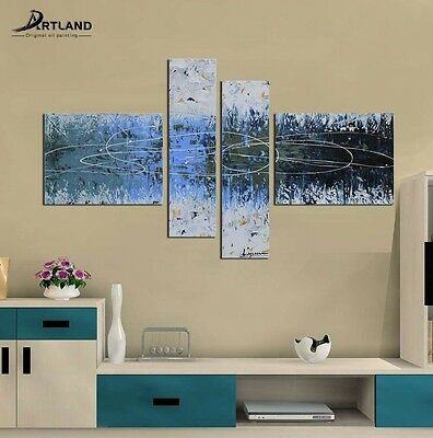 """Framed Wall ART Canvas Oil Painting  Hand Painted """"Abstract blue tone""""—ARTLAND"""