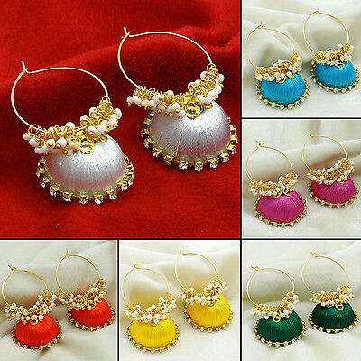 CZ Stone Indian Ethinic Goldtone Thread Wrapped Earring Set Jewelry HTE36A-PAR