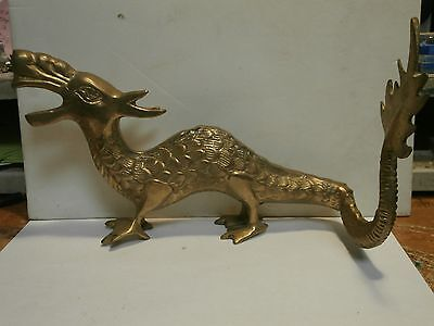 """Vintage Brass Dragon  9-1/4"""" Long X 5-1/4"""" Tall At Tip Of Nose, Made In Japan"""