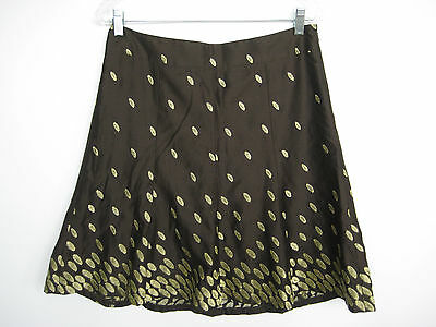 NWT ANN TAYLOR Women's Brown & Gold Embroidered Skirt Size 8P
