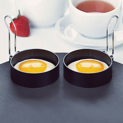 2Pcs Nonstick Stainless Steel Handle Round Egg Ring Shaper Pancakes Molds Ring