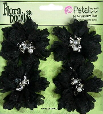 PEONIES Sml x 4 BLACK Beaded Pearl Centres FABRIC 4.5 to 5cm Across Petaloo