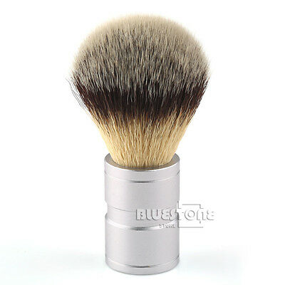 Hair Shaving Soft Brush Silver tip Stainless Metal Handle Barber Shaving BJC