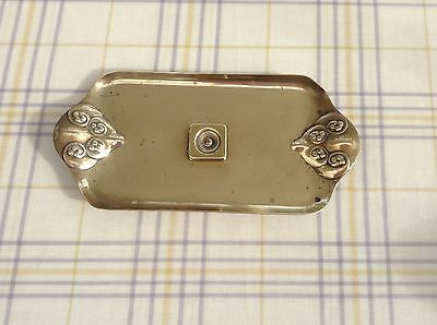 arts and crafts antique solid brass pen tray repousse