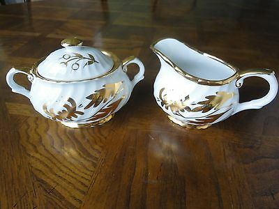 Old Foley White And Gold Creamer And Covered Sugar Set By James Kent No Sale Tax