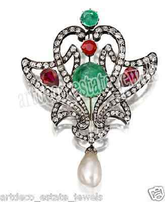 2.55cts ROSE CUT ROUND DIAMOND RUBY, EMERALD & PEARL .925 STERLING SILVE BROOCH