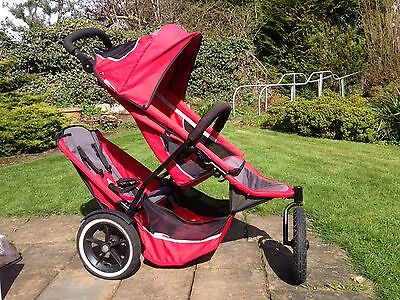 Phil & Teds Sport Red Double Seat Stroller Buggy Pram Loads Of Accesories