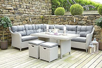 New Outdoor Summer Garden Table and Chairs Slate Grey Relaxed Corner Dining Set