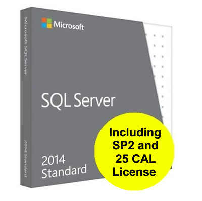 Brand New - Microsoft SQL Server 2014 Standard Edition SP2 and 25 CAL License