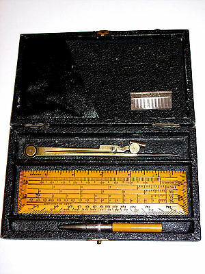 Antique Drawing Drafting Compass Divider Instruments Set By W.H. Harling 19th. c