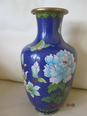 Cloisonne Vase In Blue With Flowers And Butterfly Decoration - Drilled