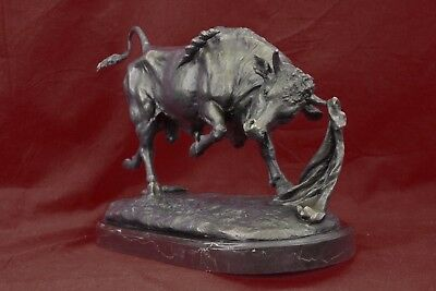 Statue Sculpture Hot cast bronze Signed Bull Art Deco style Home Decor Figurine