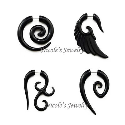 Cool 1 Pair Fake Ear Stretchers Spiral Punk Gothic Studs Earrings Plugs CE07