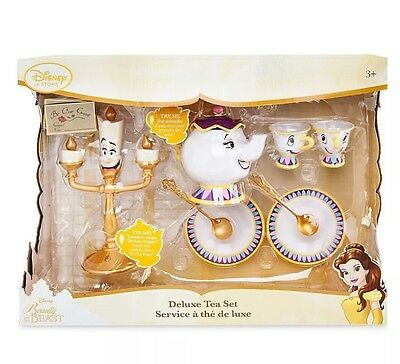 Disney Beauty and The Beast Deluxe Tea Set Mrs. Potts Singing Lumiere Lights Up