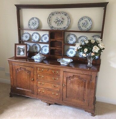 Original Oak Welsh Dresser with Plate Rack -  (Antique & Loved)