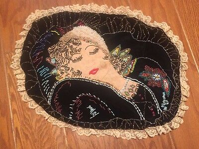VINTAGE 1940's Handmade hand beaded Tapestry lace vanity brothel sham pillow