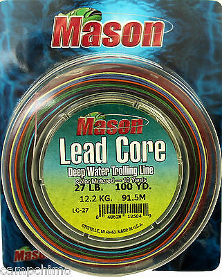 Mason Metered Lead Core Fishing Line 27# Test 200 Yards (2 Connected 10 Color)