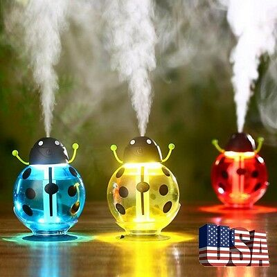 Cute Mini Beatles Home Car Aroma LED Humidifier Air Diffuser Purifier Atomizer
