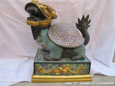 Chinese Royal Pure Bronze gild cloisonne Dragon Turtle Palace auspicious statue