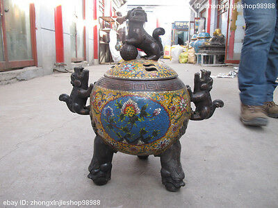 "21""China Folk Buddhism 100% Bronze cloisonne Foo Dog Lion incense burner censer"