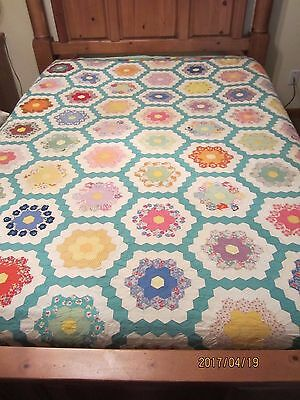 "VINTAGE ""GRANDMOTHER'S FLOWER GARDEN"" QUILT, 100 x 114, HAND PIECED & QUILTED"