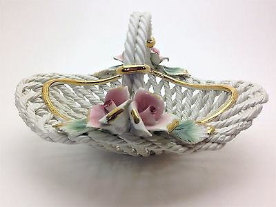 Vintage Capodimonte Cord Basket with Pink Roses at the Handle Gold Trim