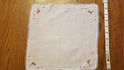 Vintage Hand Tatted Floral Embroidered Handkerchief Hankie Hanky