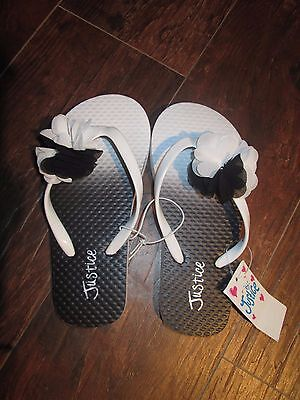 NEW girls size 12 youth JUSTICE black white flip flops