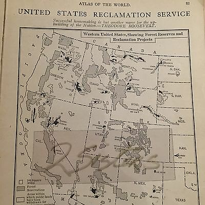 1908 US Map Forest Reserve Reclamation Projects western States + doc. Article