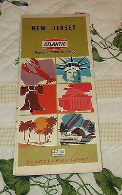 Vintage 1968 ATLANTIC RICHFIELD COMPANY Road Highway MAP New Jersey
